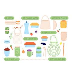 Zero waste eco lifestyle stickers reusable bags vector