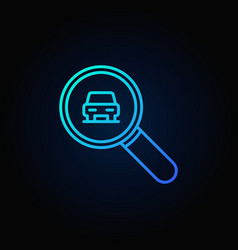 blue magnifying glass with a car icon vector image vector image