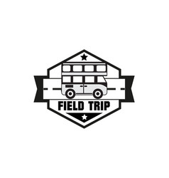 bus trip and travel tour badge logo vector image