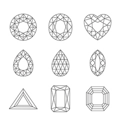 Diamonds and Ruby Line Icons vector image