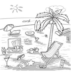 doodle beach vacation concept vector image vector image