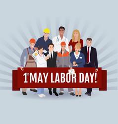 labor day greeting people group vector image