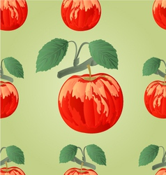 Seamless texture red apple with green leaves vector image vector image