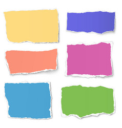 set of colour paper tears isolated on white vector image vector image