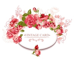 Vintage floral card with roses vector