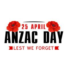 Anzac poppy flower icon for world war memorial day vector