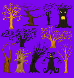 halloween trees creepy or scary and frightening vector image