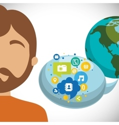 man world bubble speech communication social media vector image vector image