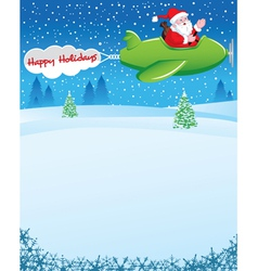Santa in Airplane with Holiday Wishes vector image vector image