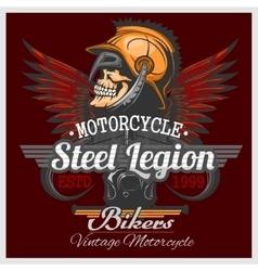 Vintage Biker Skull Emblem vector image