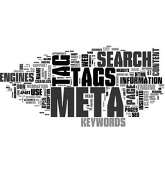 why meta tags used text word cloud concept vector image vector image