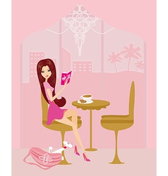 Young woman reading book in coffee break vector