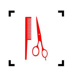 barber shop sign red icon inside black vector image