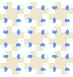 Blue birds seamless pattern vector image