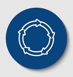 circular arrows sign white contour icon vector image