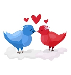 Doves couple with hearts vector image