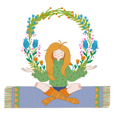 Happy hippie girl with flowers bright colored vector