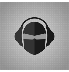 Head with glasses and headphones copy vector image vector image