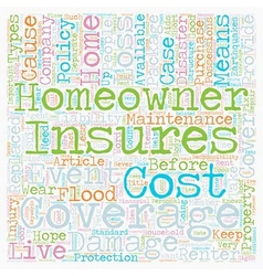 Homeowners Insurance text background wordcloud vector image vector image