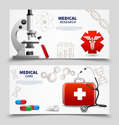 medical research banners set vector image