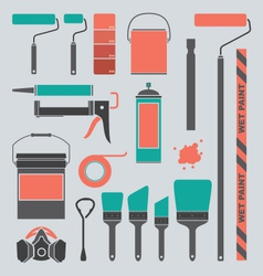 Retro Painting Supplies Silhouettes and Icons vector image vector image