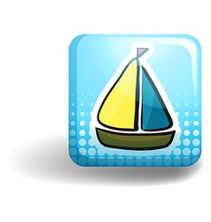 Sailboat on square badge vector image vector image