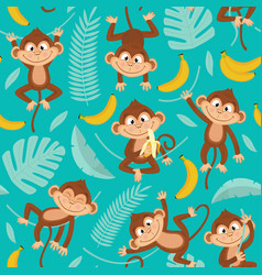 seamless pattern with monkey on blue background vector image