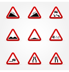 set of warnings road signs vector image