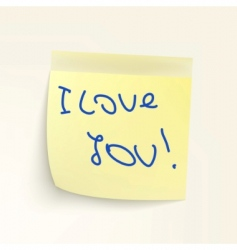 sticky note: I LoveYou vector image vector image