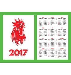 template for pocket calendar for 2017 with a fiery vector image vector image