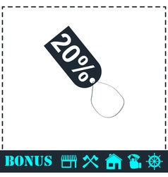 20 percent discount icon flat vector image