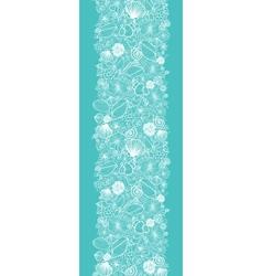 Blue seashells line art vertical seamless pattern vector image