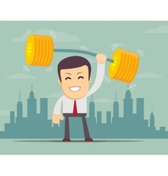 Businessman lifting up barbell with coin weight vector image