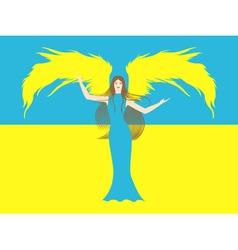 Female angel against the flag of Ukraine vector image