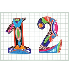 hand draw Sketchy Numbers vector image