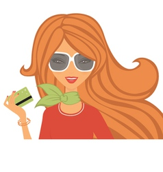 Shopping with card vector image
