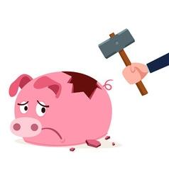 Stressed piggy bank vector