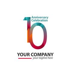 10 year anniversary celebration company template vector