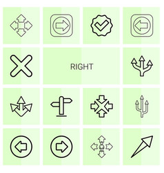 14 right icons vector