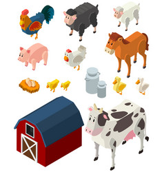 3d design for many types of farm animals vector image