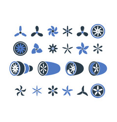 airplane engines propeller turbine symbols plane vector image