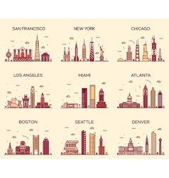 American cities skyline trendy linear vector