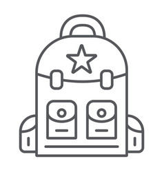 Backpack thin line icon camping and travel bag vector