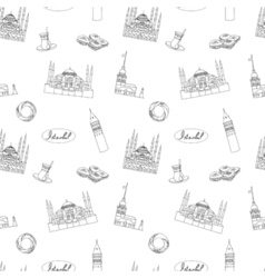 Black and white Istanbul tourist textile print vector