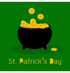 Black pot full of leprechauns gold coins vector
