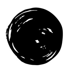 black round button hand painted ink blob grunge vector image