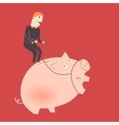 Businessman on a pig vector image