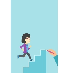 Businesswoman running upstairs vector