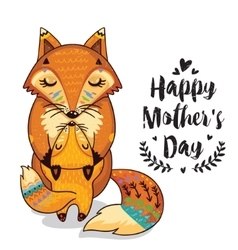 Card for Mothers Day with foxes vector