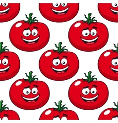 cartoon smiling red tomatoes seamless pattern vector image